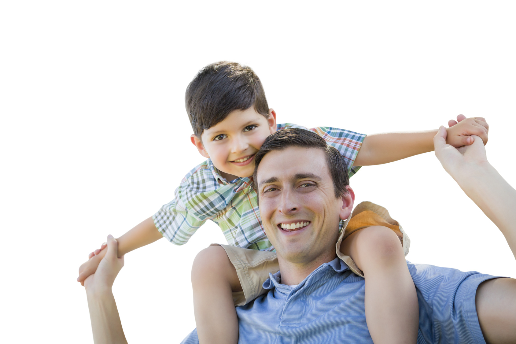 Father and Son Playing Piggyback Isolated on a White Background.